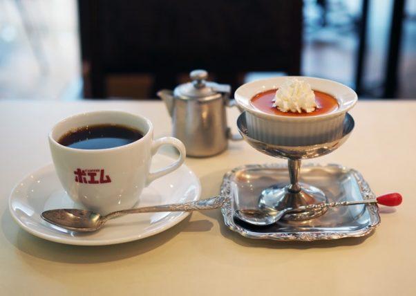 喫茶博物館珈琲ポエムのコーヒーとプリン