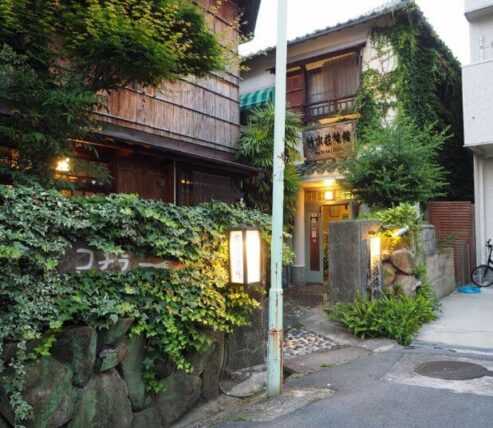 竹家荘旅館・外観夕方